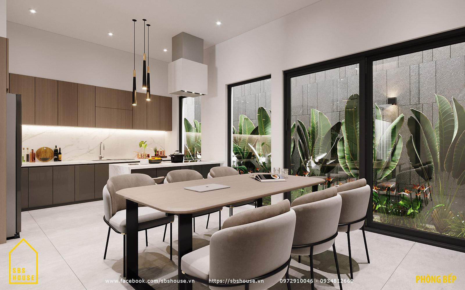 Phòng bếp ăn không gian mở thoáng mát