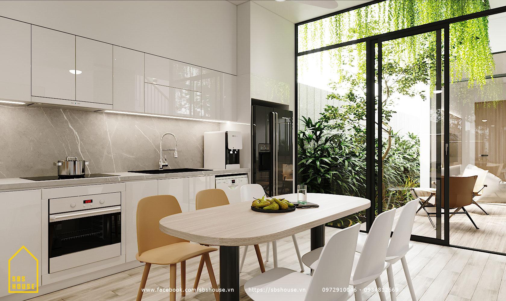 Phòng bếp ăn thiết kế tối giản