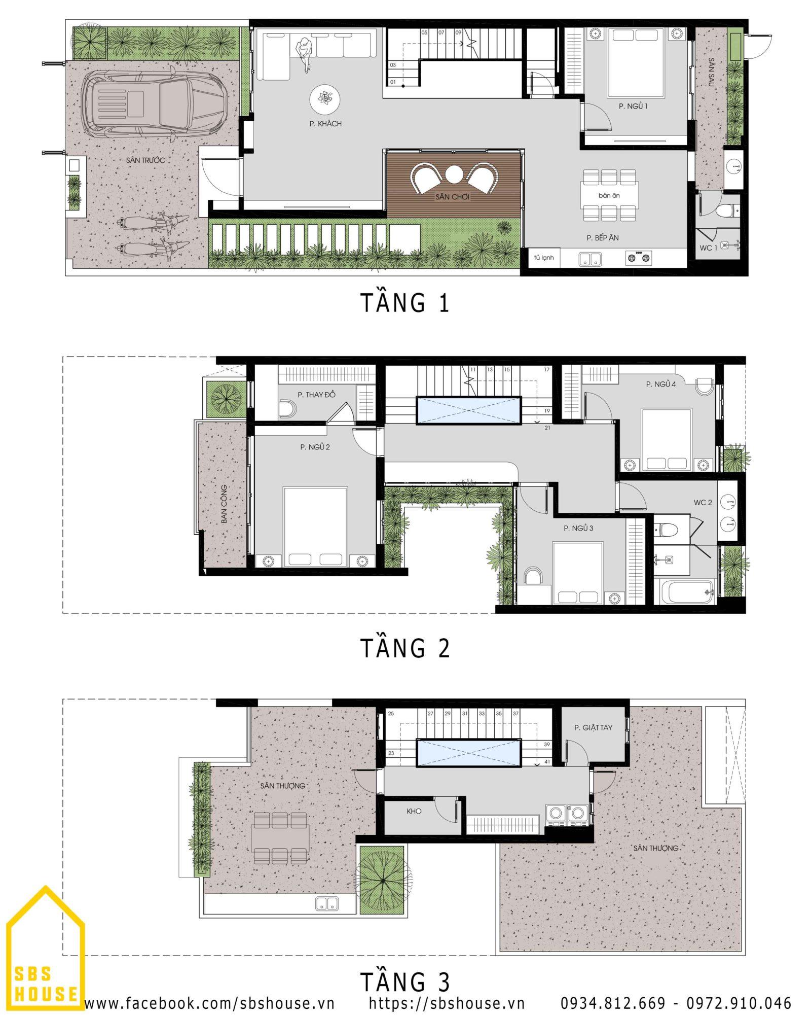 Mặt bằng công năng nhà phố 3 tầng 4 phòng ngủ