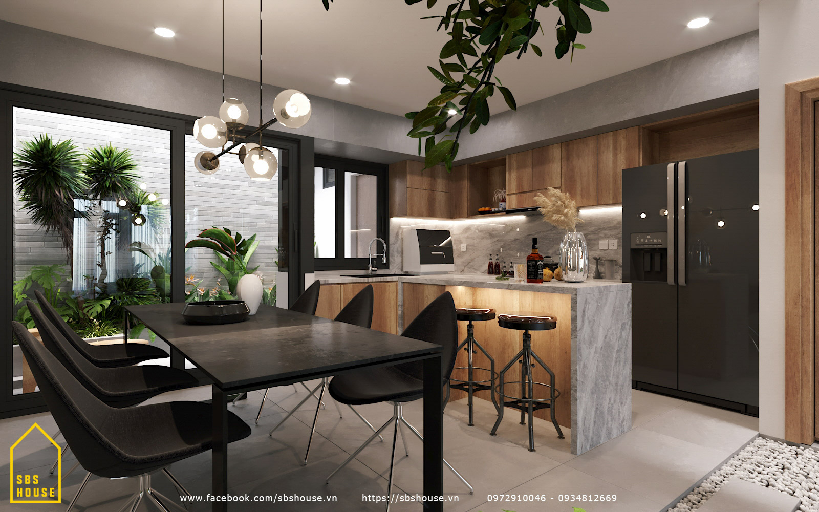 Phòng bếp đẹp hiện đại với đảo bếp