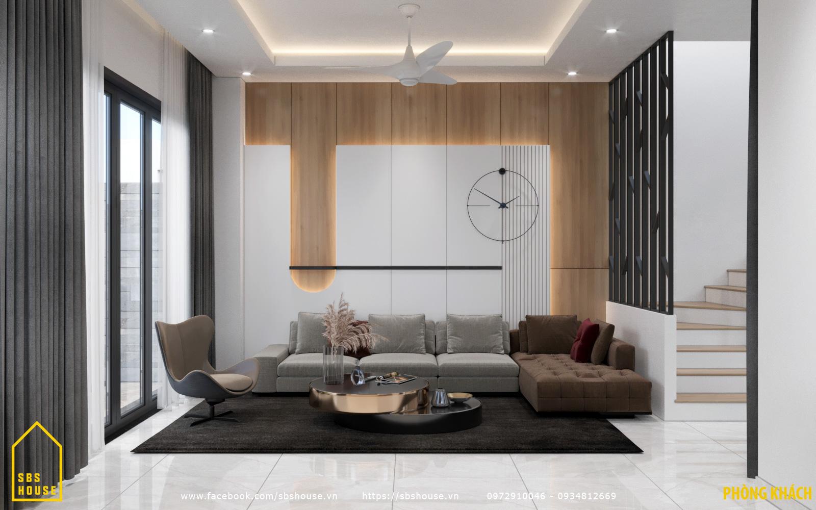 Phòng khách đẹp nhà 3 tầng 1 tum