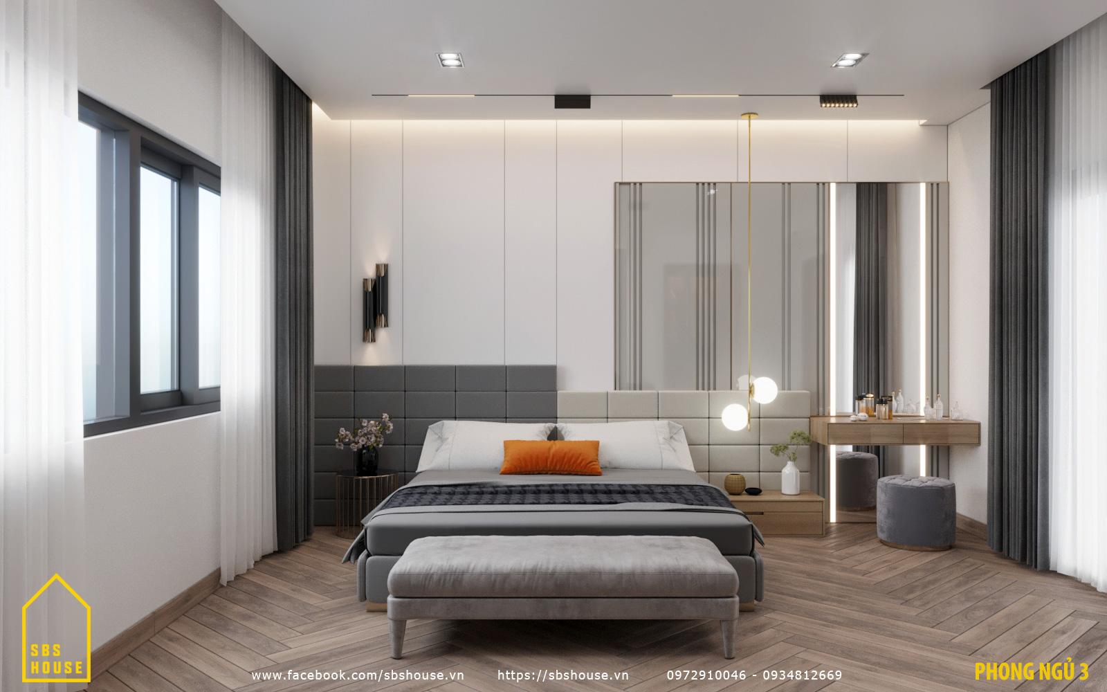 Phòng ngủ đẹp trong nhà 3 tầng 1 tum
