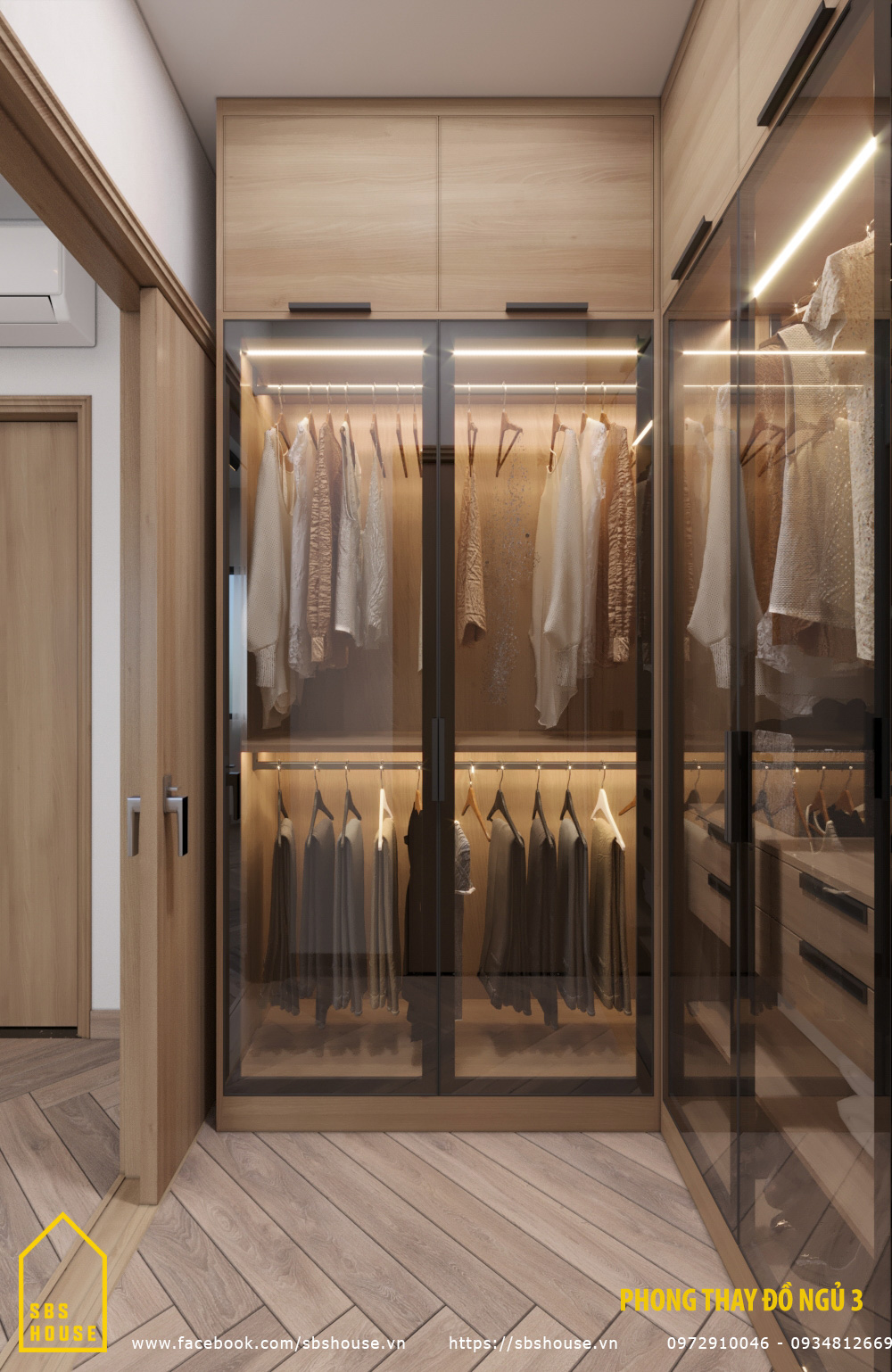 Phòng thay đồ trong phòng ngủ master