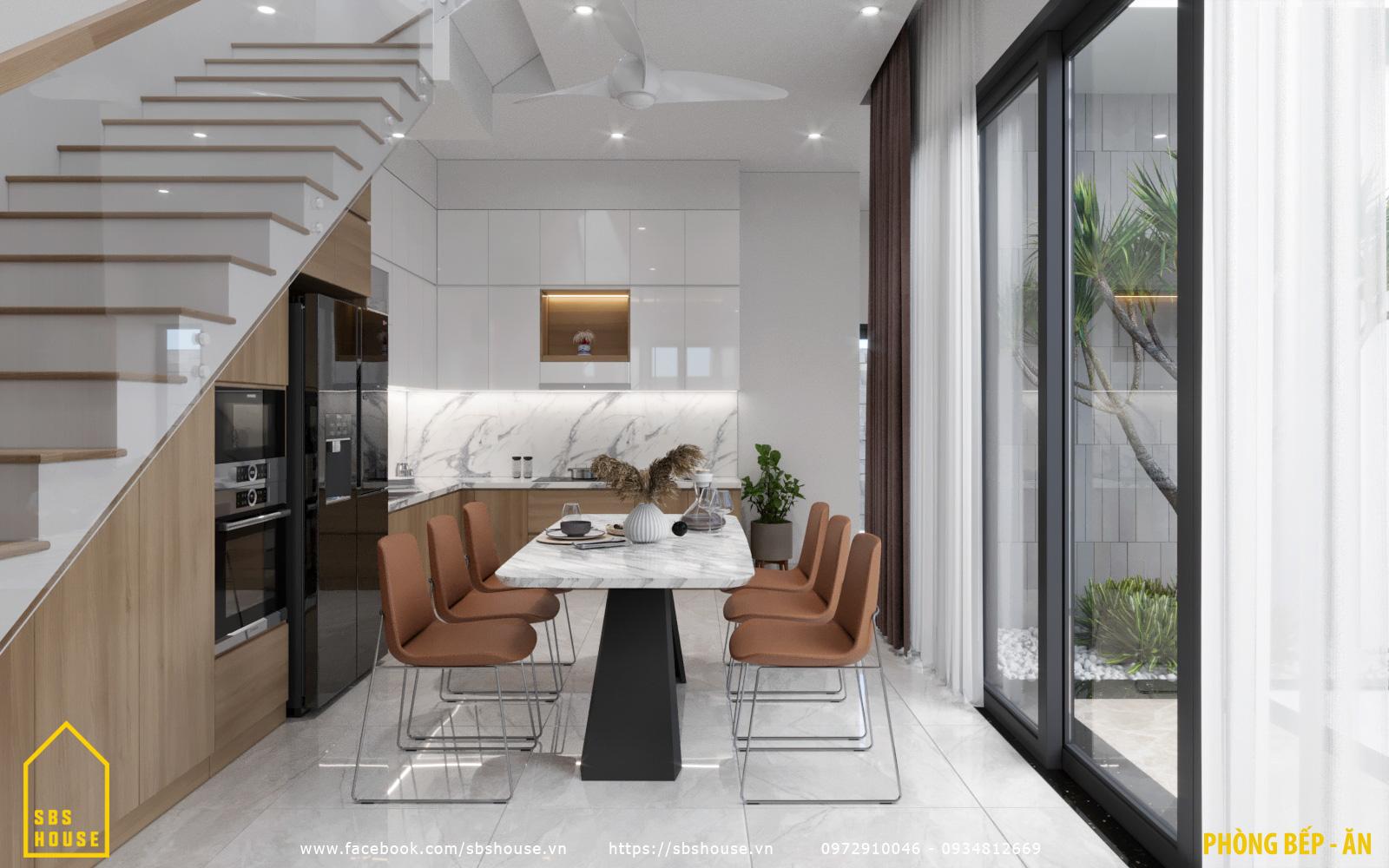 Phòng bếp đẹp trong nhà 3 tầng 1 tum