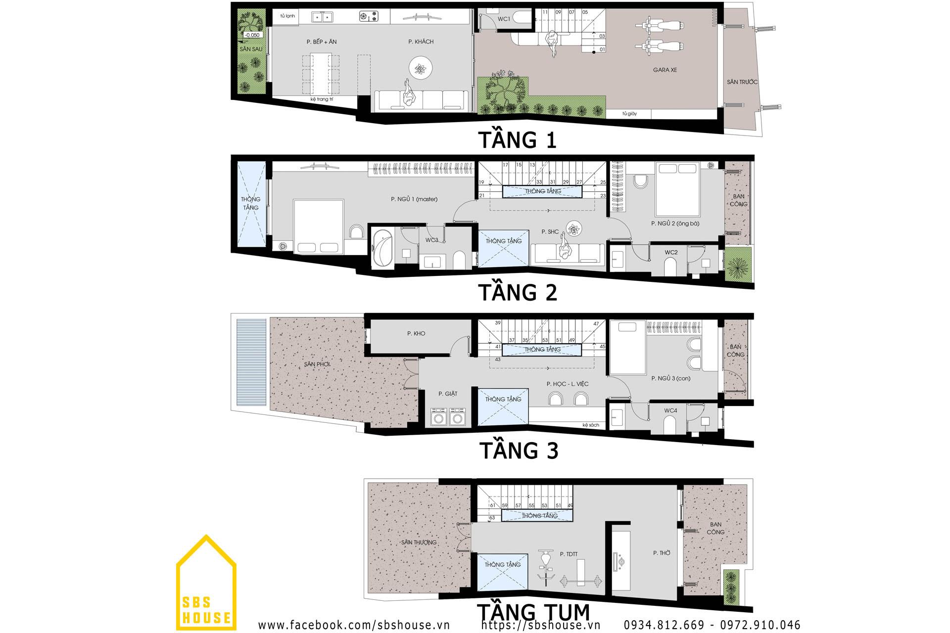 Mặt bằng nhà 3 tầng 1 tum