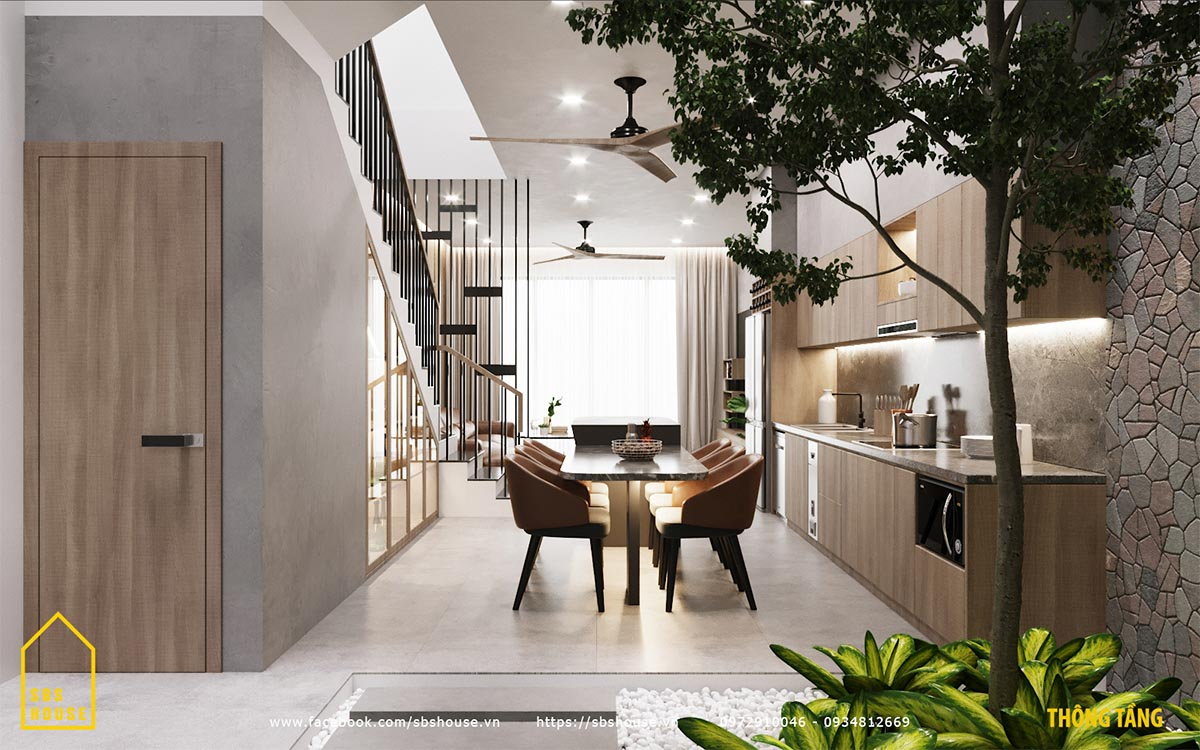 Phòng bếp với đảo bếp hiện đại