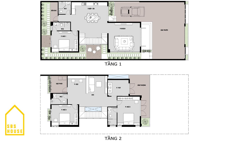 Mặt bằng nhà 2 tầng