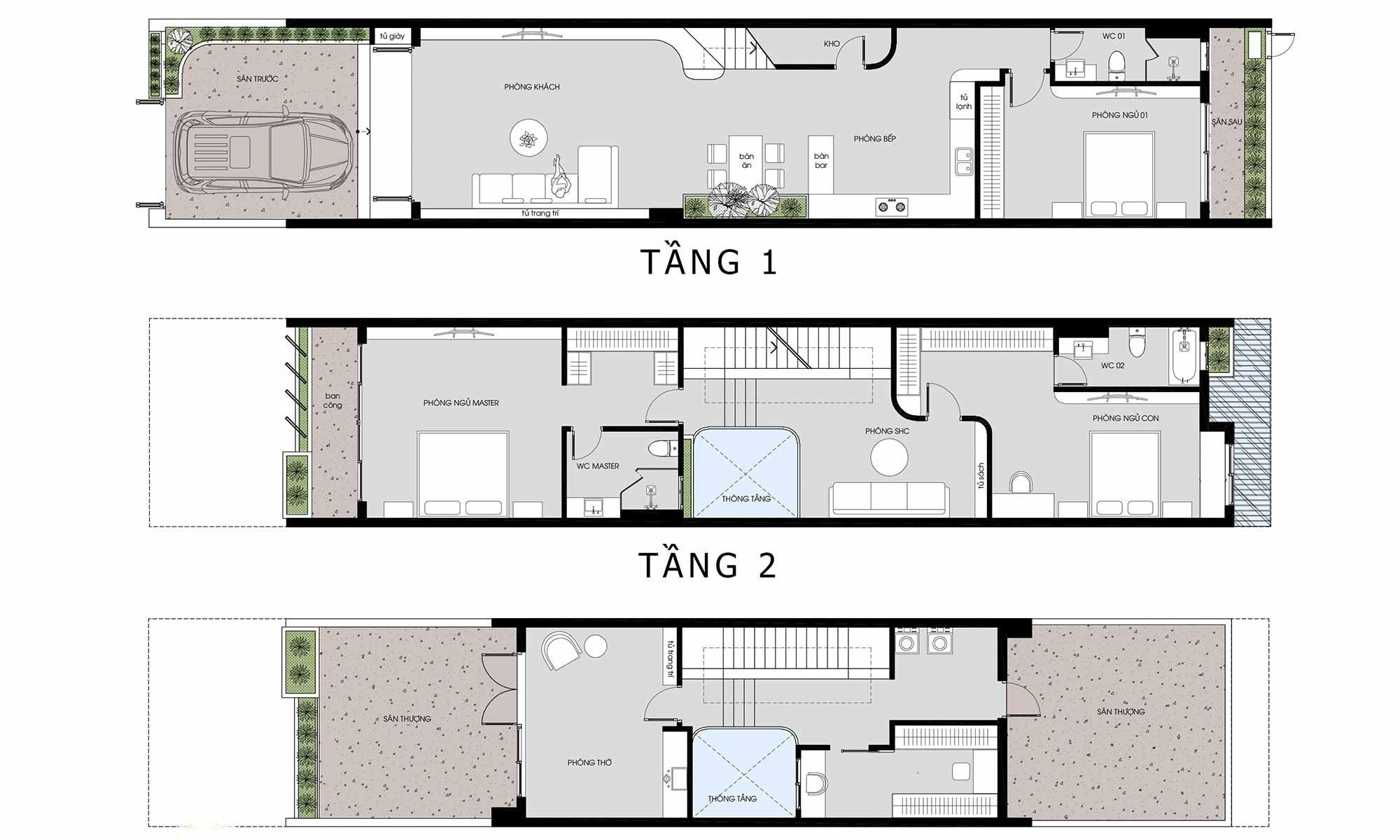 Mặt bằng nhà phố 3 tầng