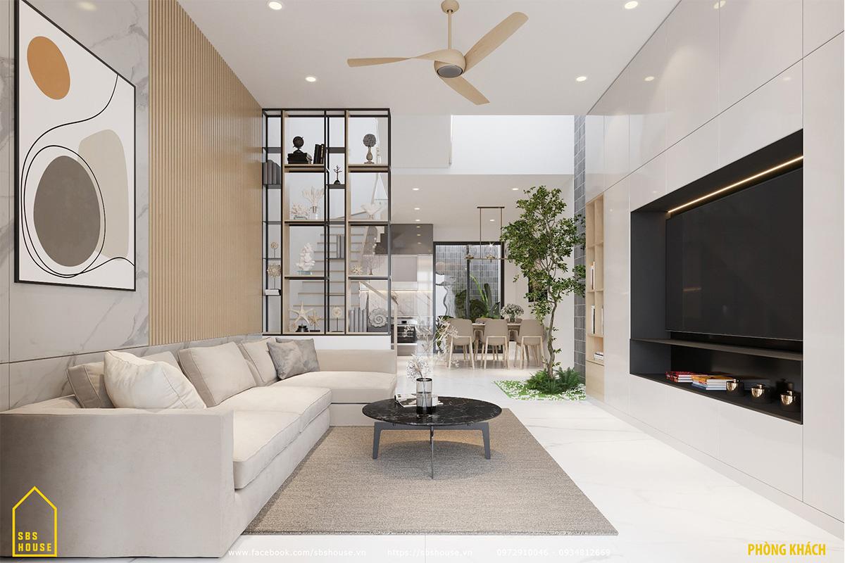 Việc liên kết phòng khách và phòng bếp giúp tối ưu hoá không gian