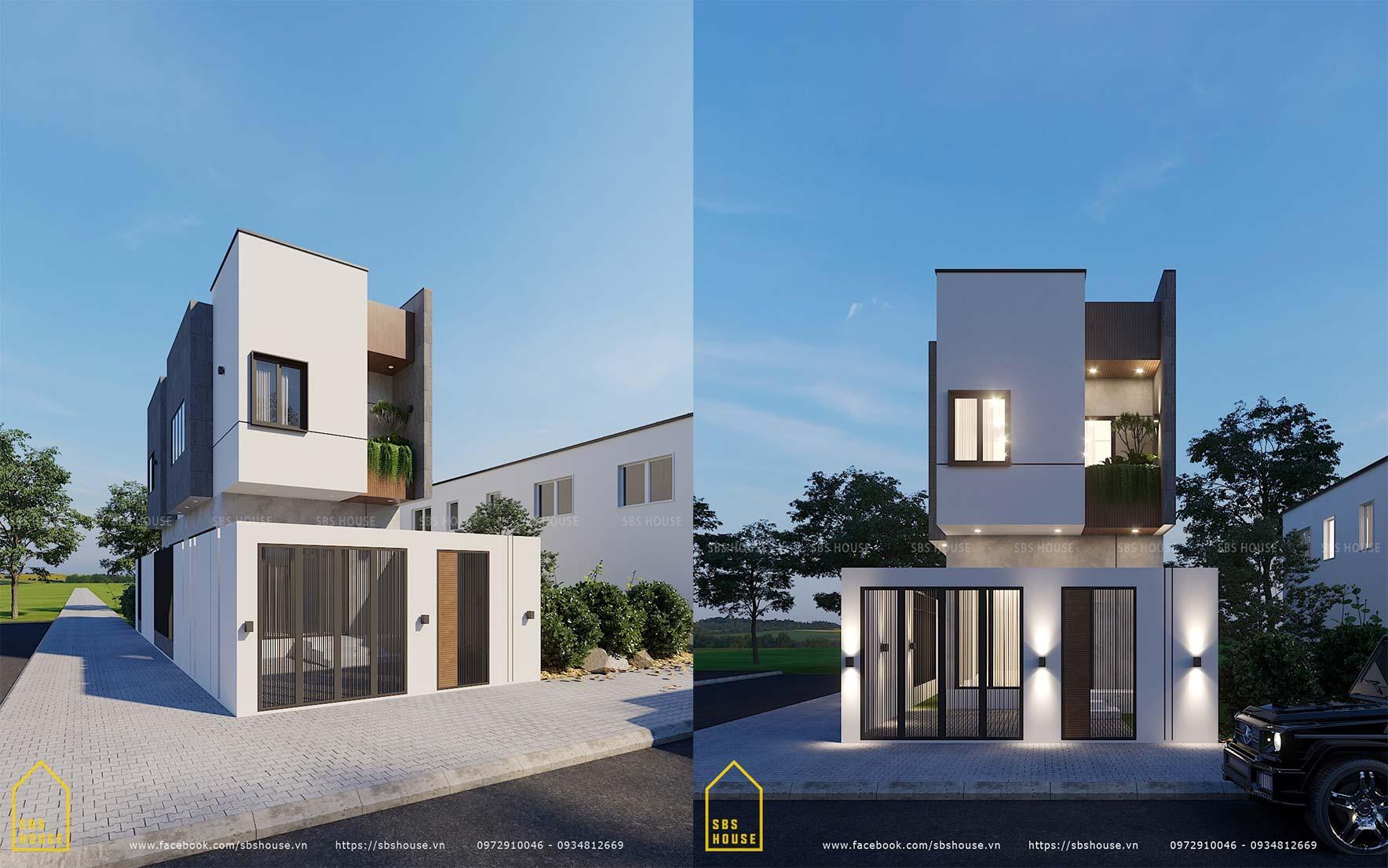 Mặt tiền ngôi nhà hiện đại và tối giản
