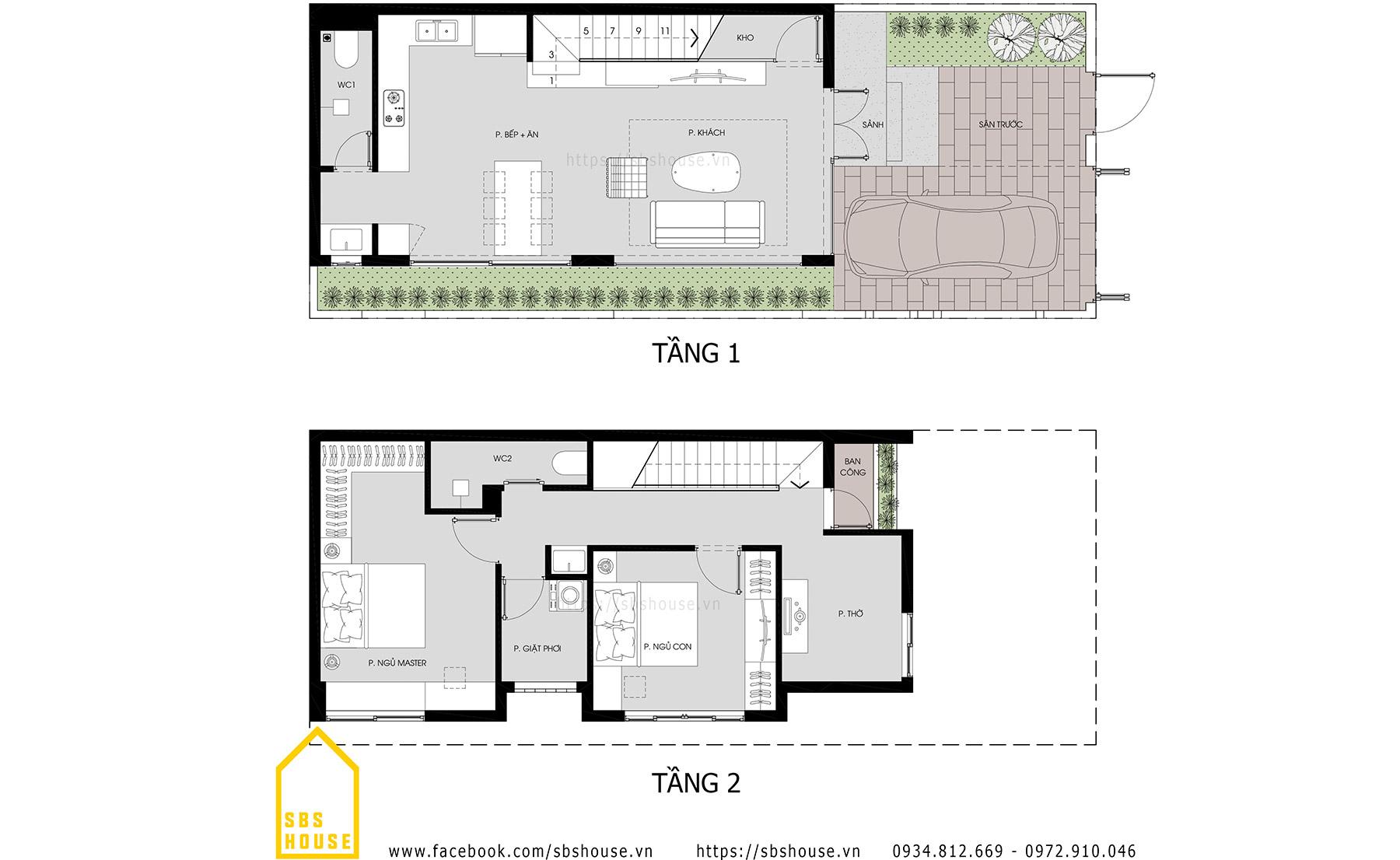 Bản vẽ nhà hai tầng T's House