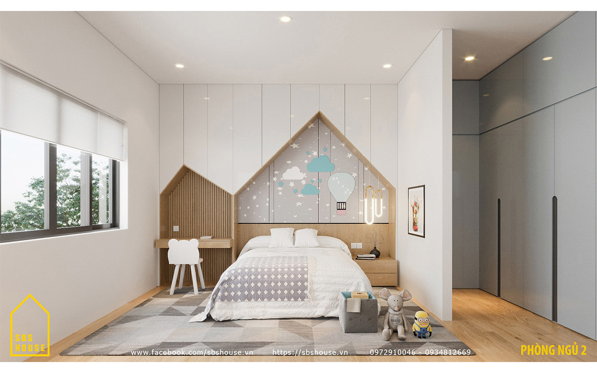 Phòng ngủ con gái xinh xắn và tiện nghi