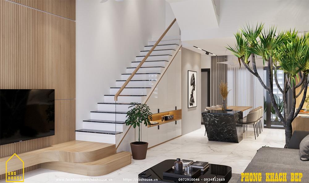 Bên dưới cầu thang là tủ kho nhỏ gọn gàng