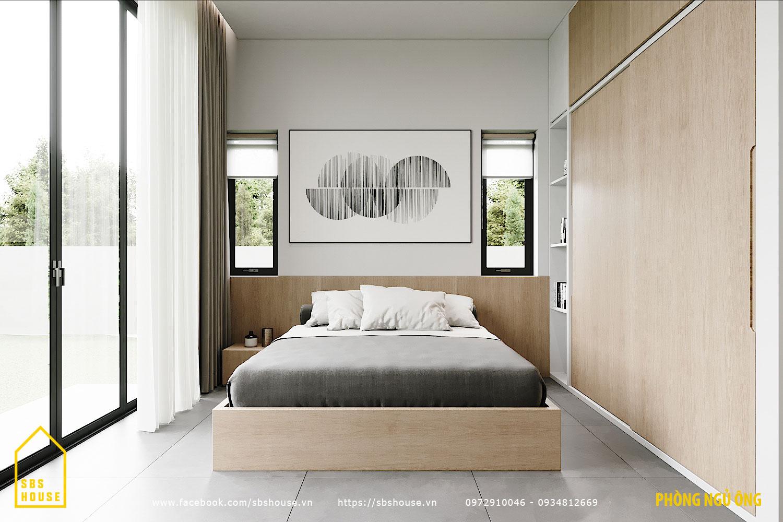 Phòng ngủ tối giản, hiện đại, gọn gàng.