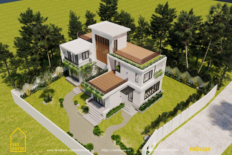 Nhà vườn hai tầng một tum do SBS HOUSE thiết kế và thi công