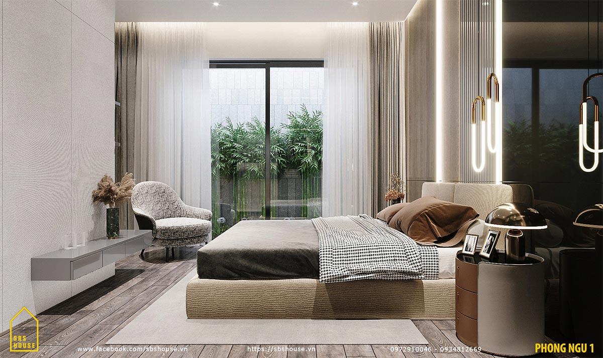 Phòng ngủ với tiểu cảnh phía sau