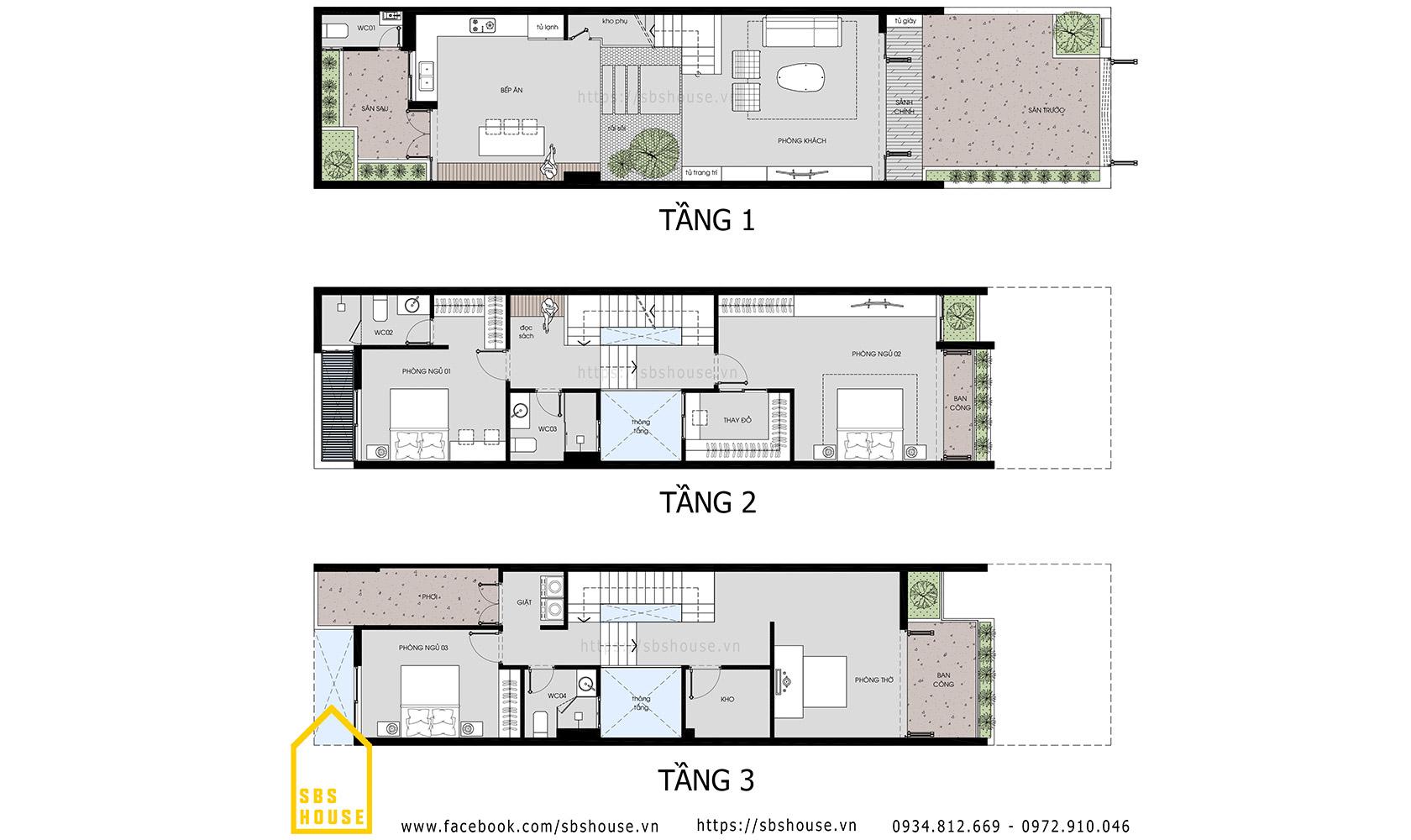 Mặt bằng nhà 3 tầng hiện đại Ch's House
